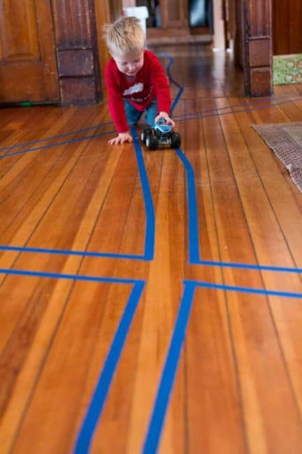 roads on floor with tape for kids