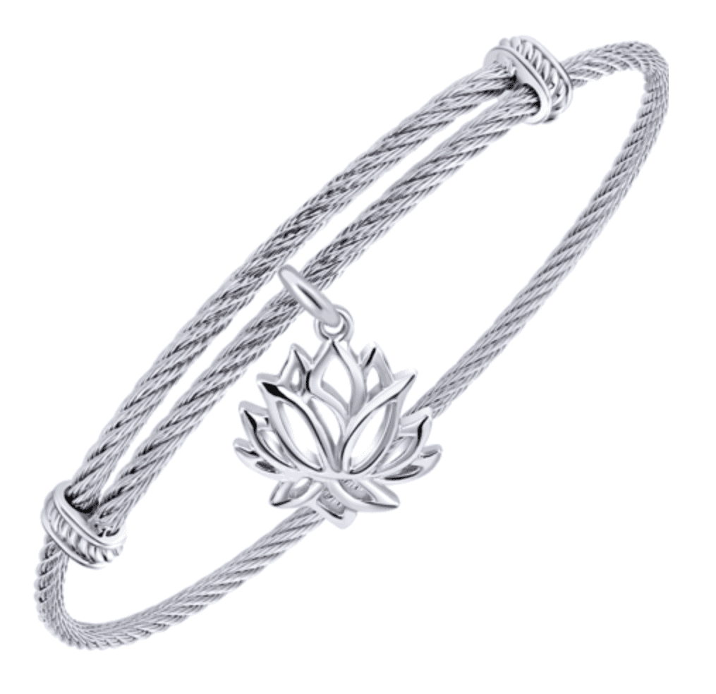 Silver and Stainless Steel Lotus Charm Bracelet