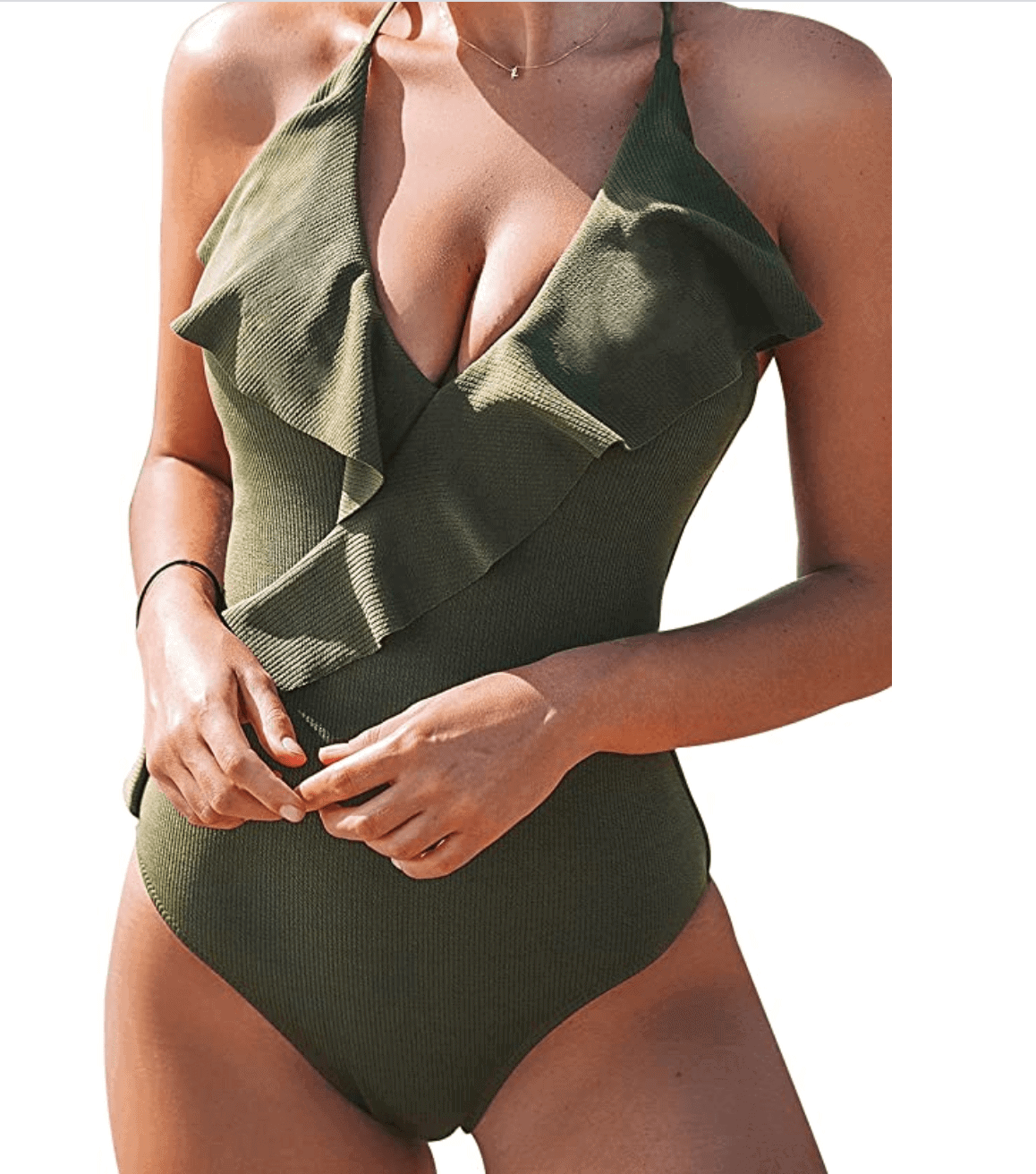 Mom Swimsuit Flattering Wrap One Piece